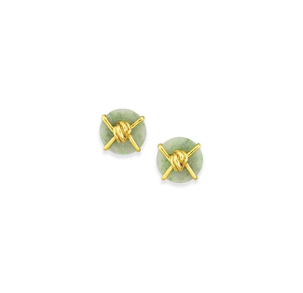 A pair of jadeite jade earrings, by Cipullo for Cartier