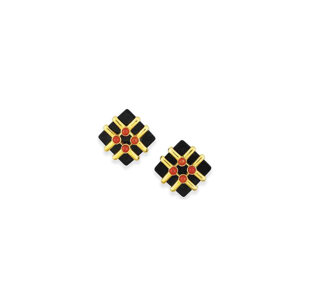 A pair of onyx and coral earrings, by Cipullo for Cartier