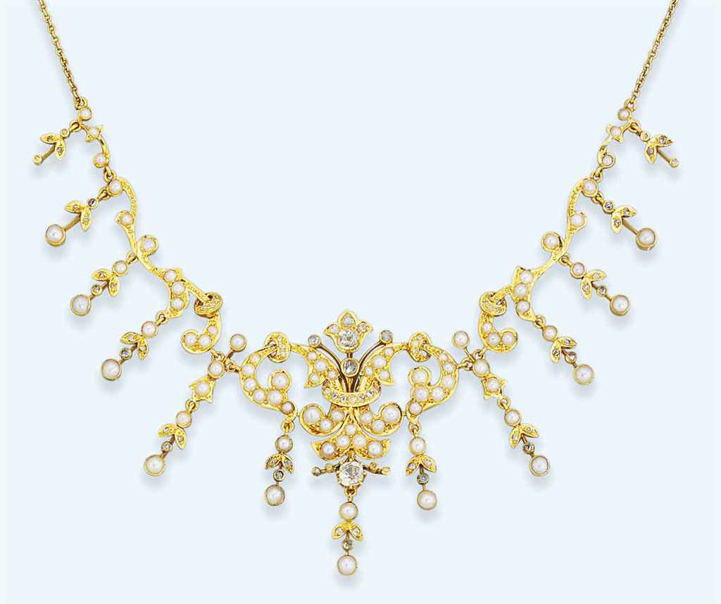 A late Victorian diamond and pearl necklace