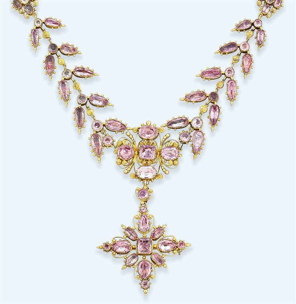 A George IV suite of gold and topaz jewellery