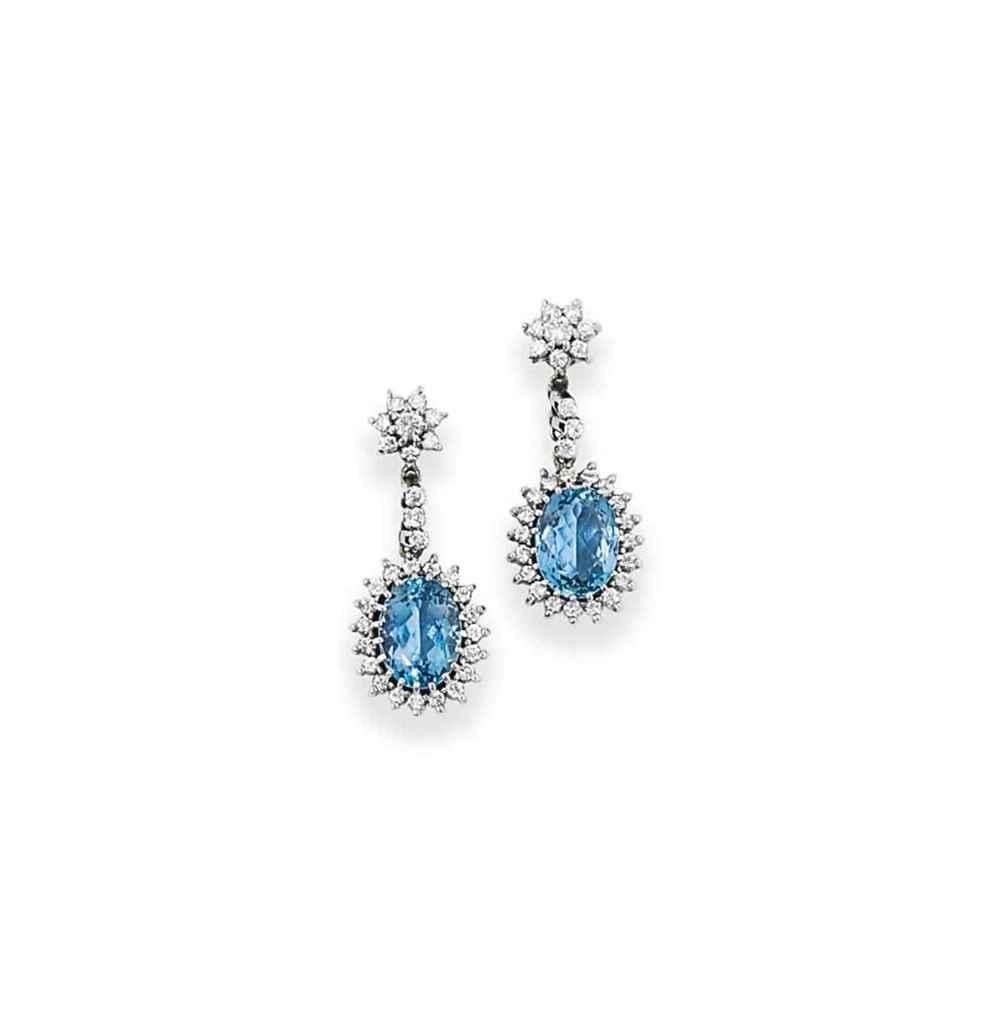 A pair of aquamarine and diamond earrings