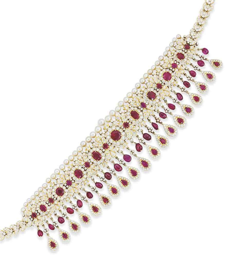 A ruby and diamond 'guluband' necklace