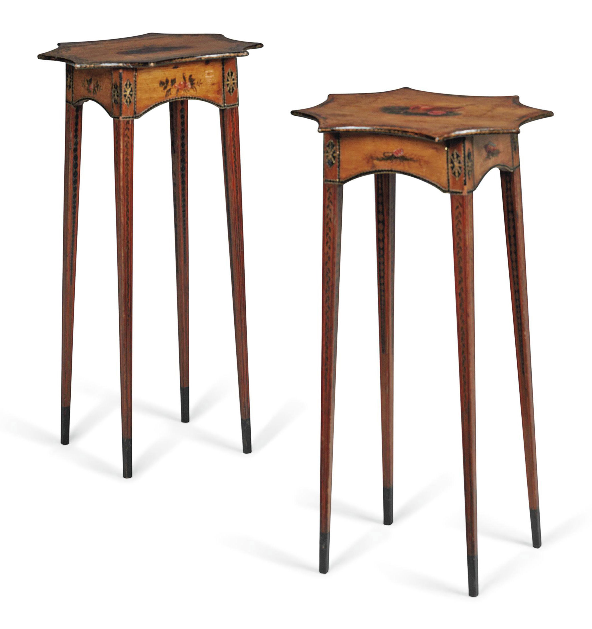 A PAIR OF GEORGE III POLYCHROME DECORATED PINE OCCASIONAL TABLES