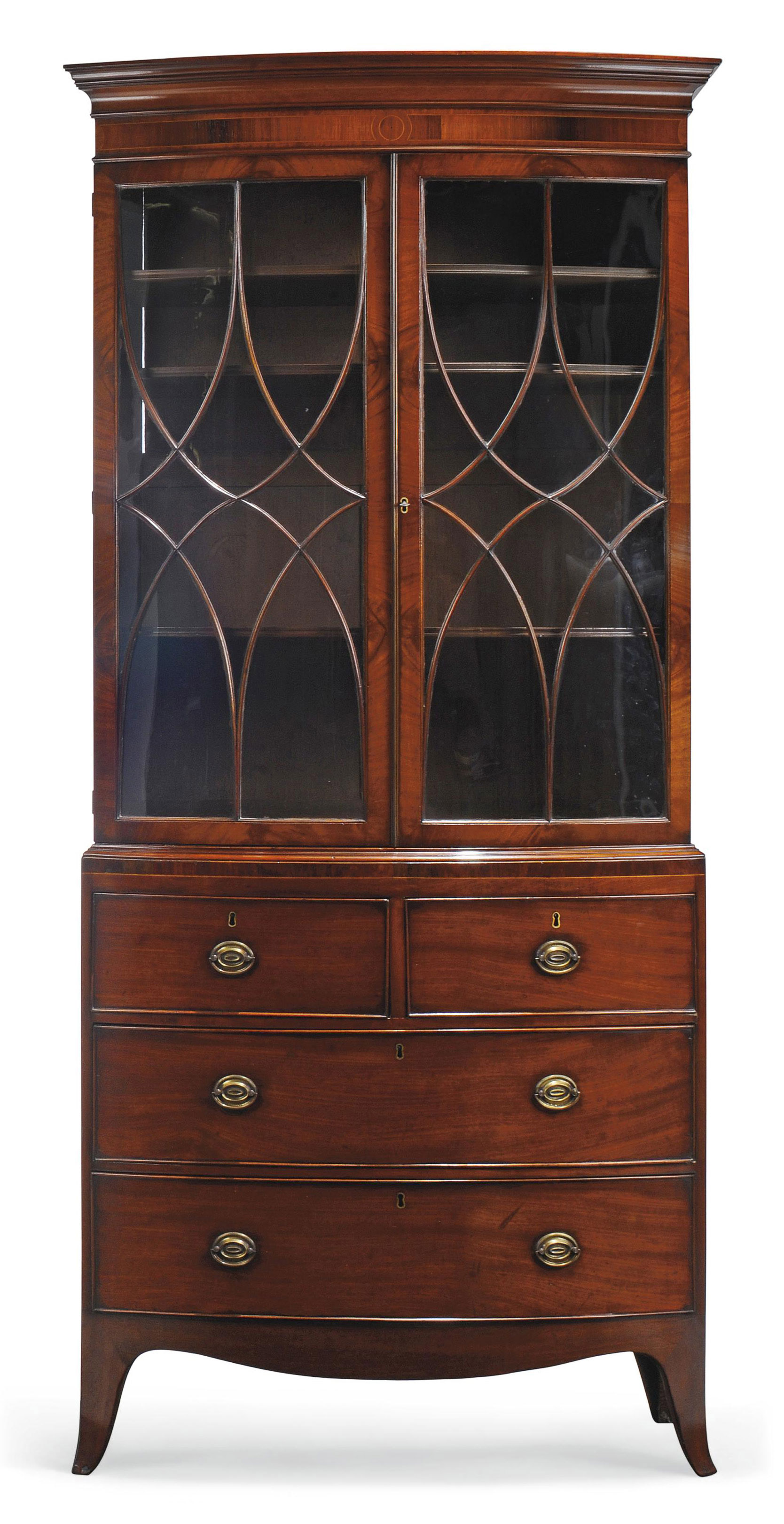 A REGENCY MAHOGANY AND ROSEWOOD CROSSBANDED BOWFRONT CABINET ON CHEST