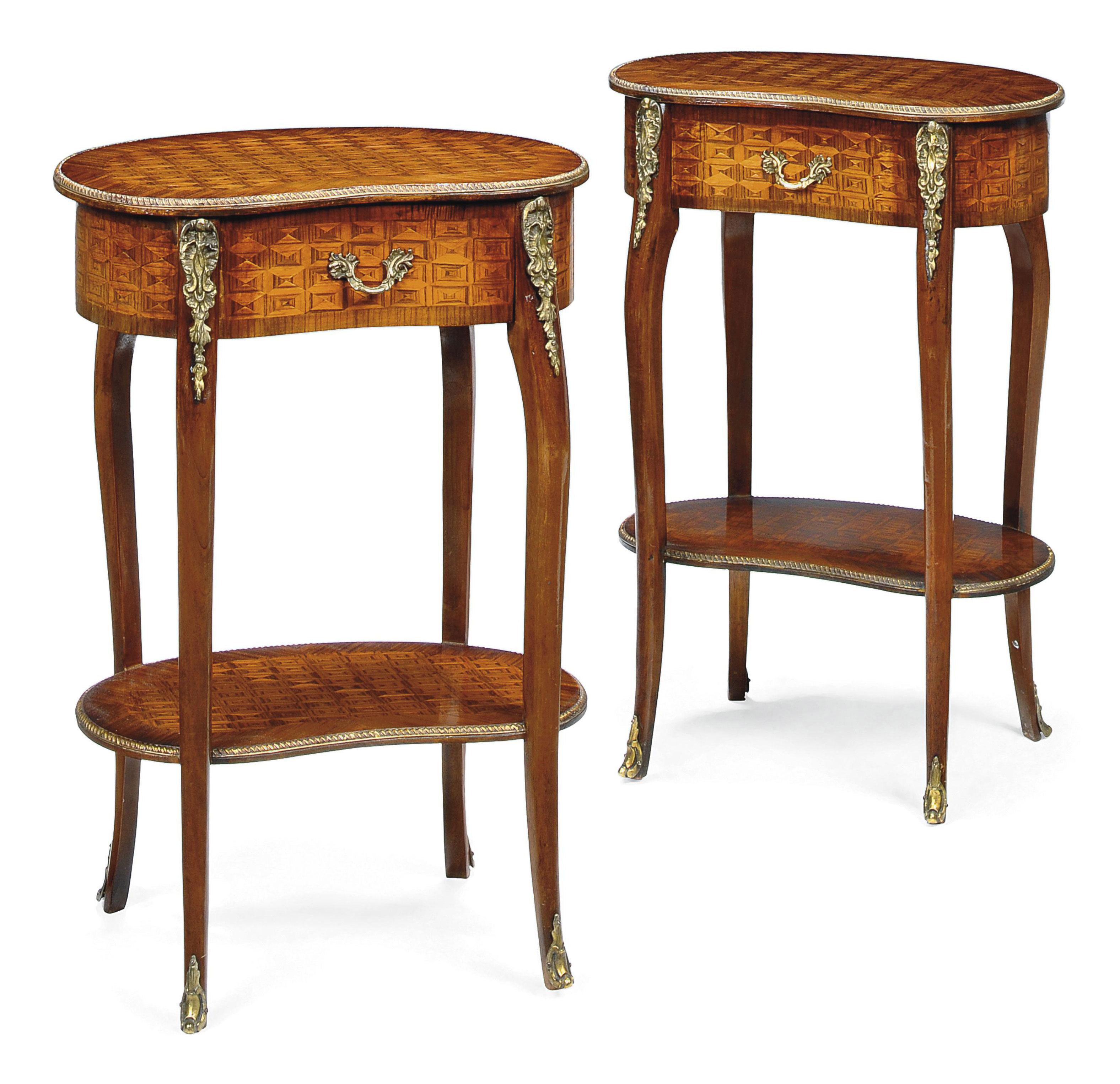 A PAIR OF FRENCH KINGWOOD AND PARQUETRY OCCASIONAL TABLES