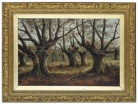 A wooded landscape with two figures gathering branches