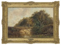 A wooded river landscape with faggot gatherers