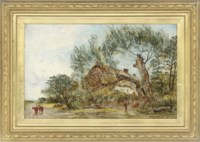 Figures by a fallen tree, before a cottage