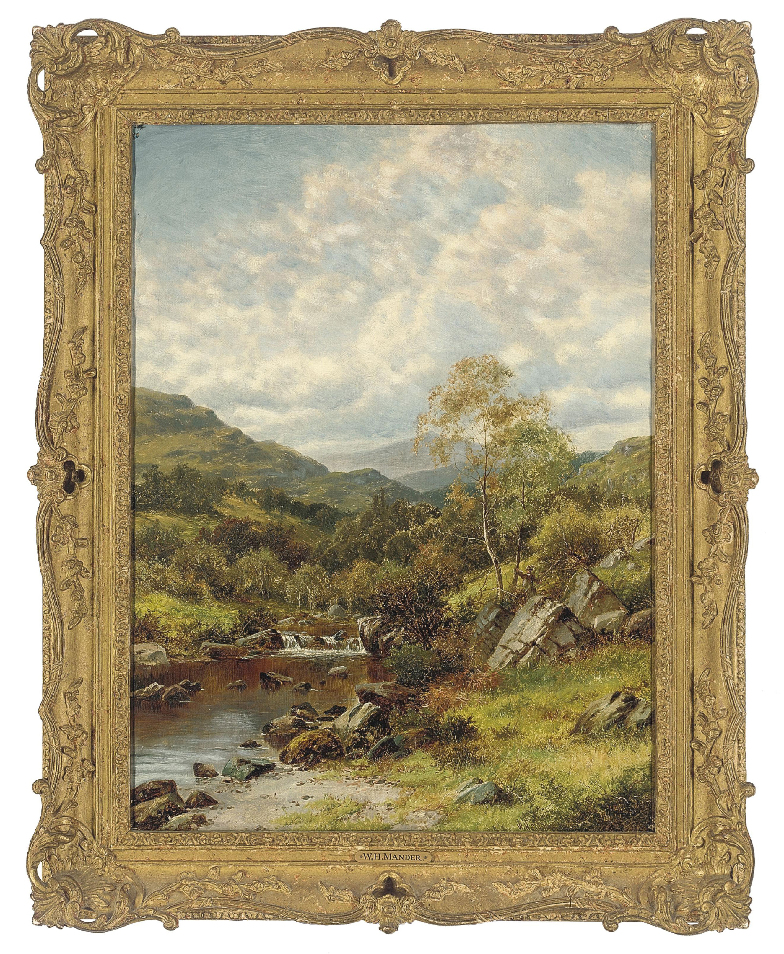An extensive river landscape with a hunter