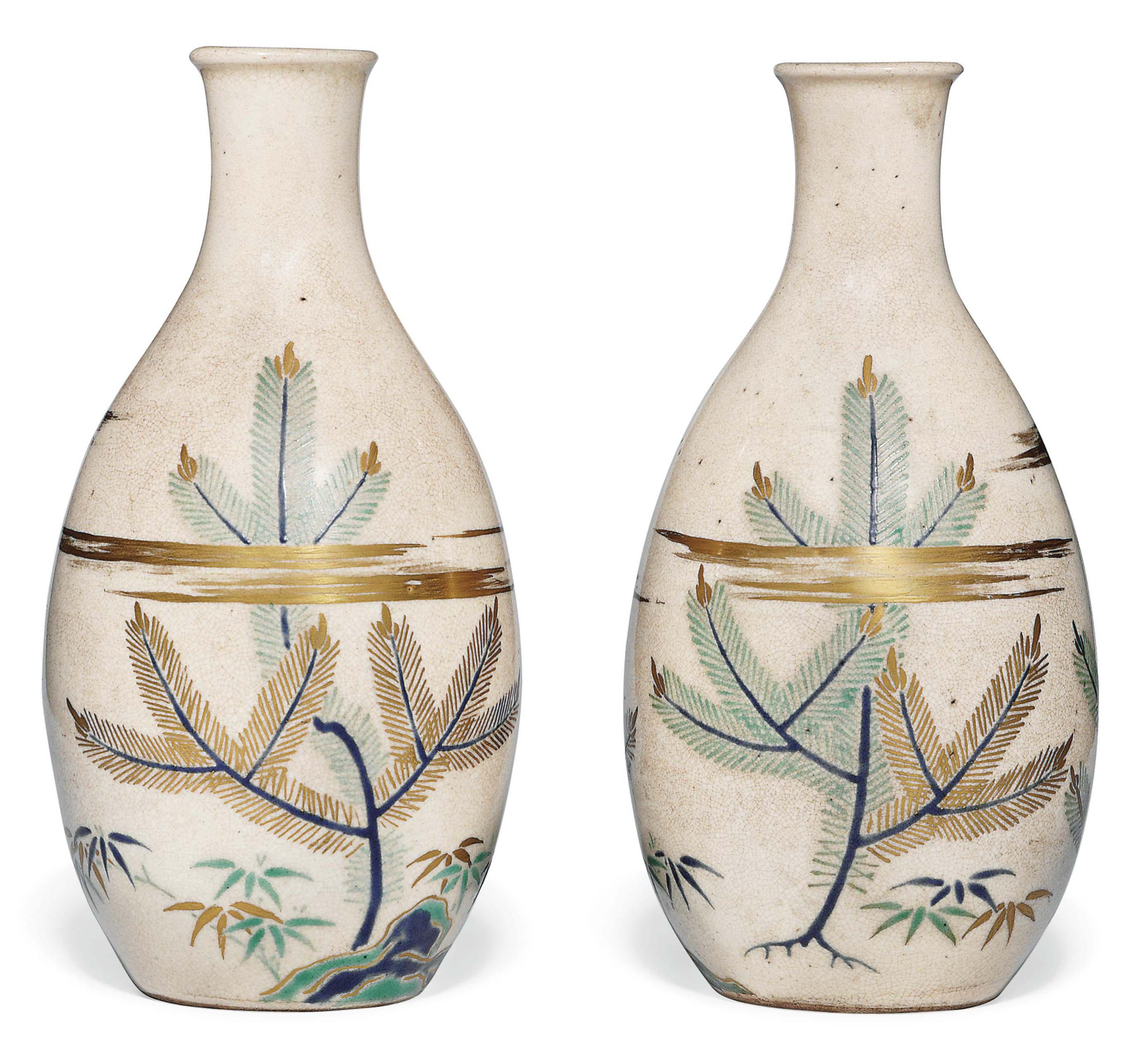 A Pair of Kiyomizu Sake Flasks