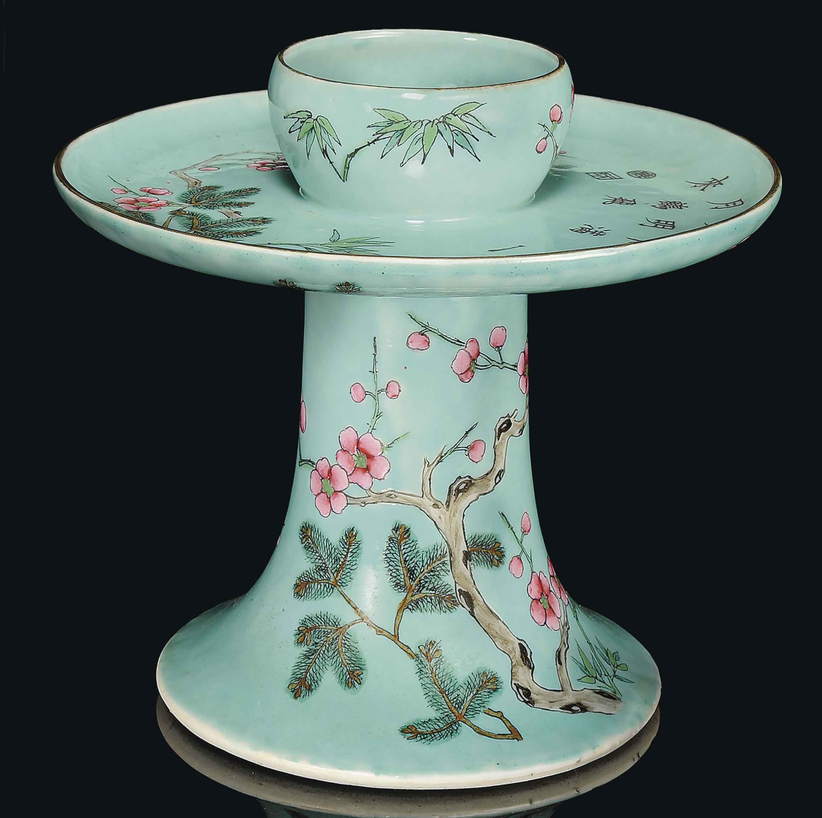 A FAMILLE ROSE TURQUOISE-GROUND CANDLE HOLDER