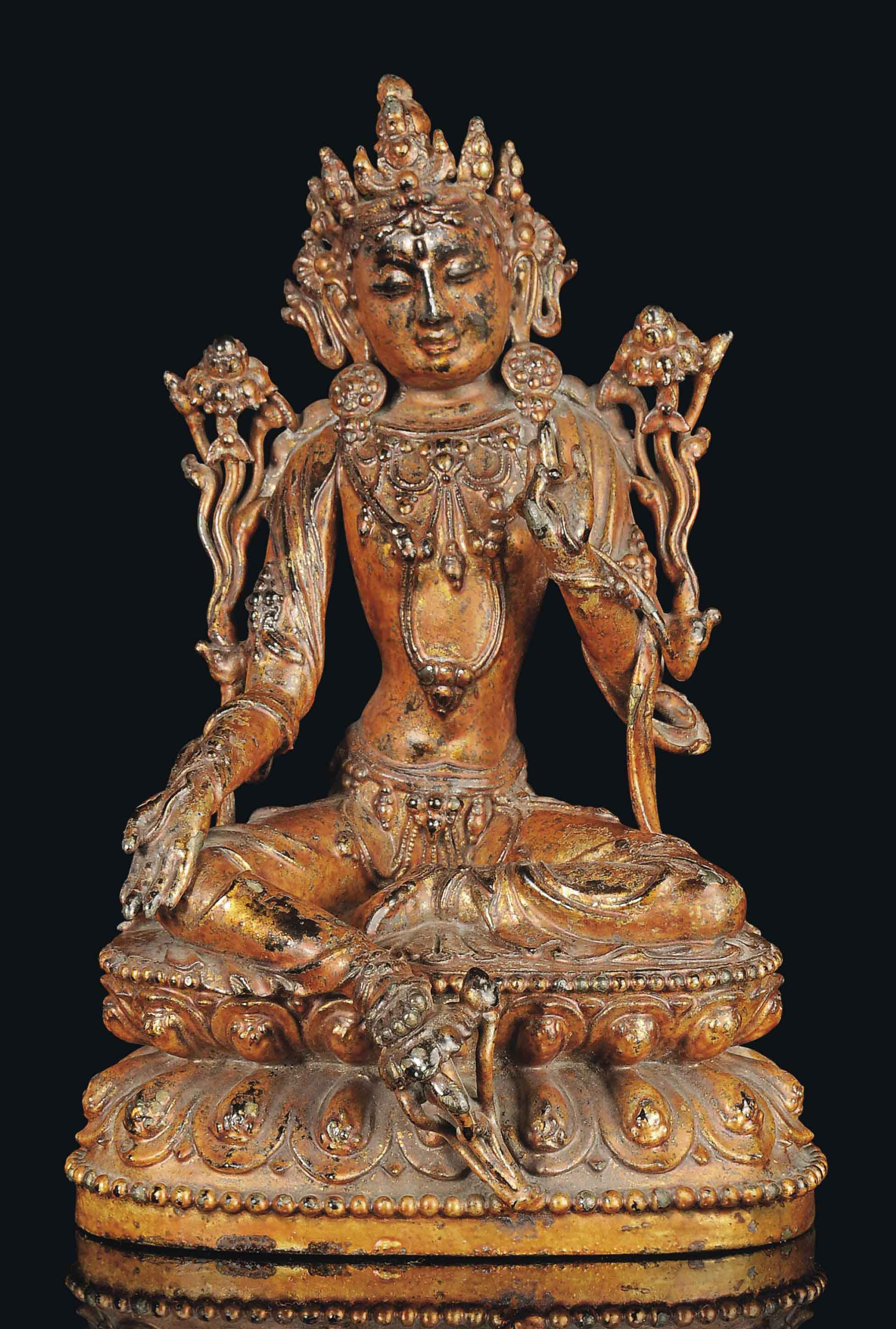 A GILT-LACQUERED BRONZE MODEL OF GUANYIN