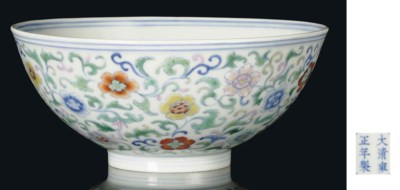 A DOUCAI BOWL WITH SCROLLING F