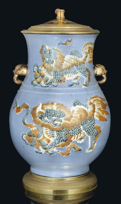 A BLUE-GROUND VASE, HU