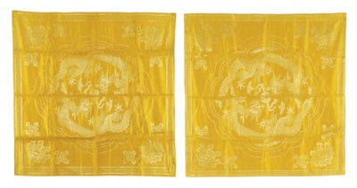 A PAIR OF YELLOW SILK SCROLL W