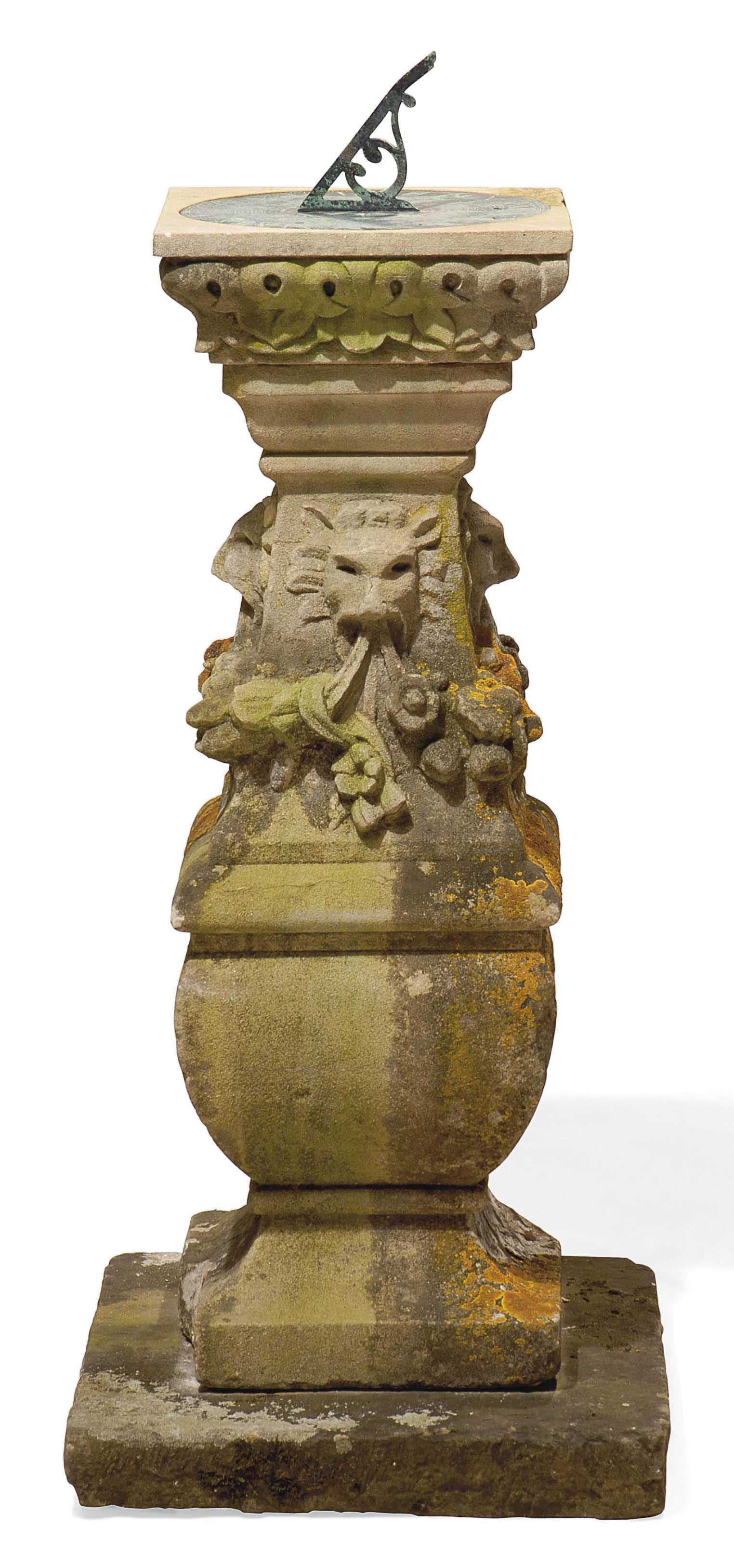 pedestal main garden baluster sundial pin antique antiques large lichen