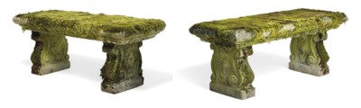 A PAIR OF COMPOSITION STONE GA