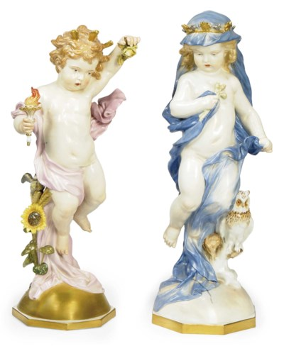 A PAIR OF MEISSEN FIGURES OF P
