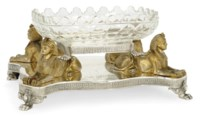 CEYLON INTEREST:- A VICTORIAN PARCEL-GILT ELECTROPLATED EGYPTIAN REVIVAL CENTREPIECE