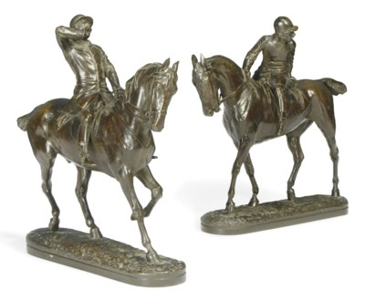 TWO BRONZE EQUESTRIAN GROUPS '