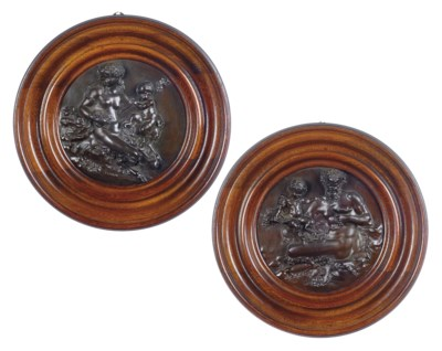 A PAIR OF FRENCH BACCHIC BRONZ