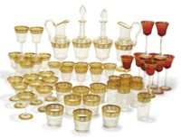 A ST. LOUIS CRYSTAL 'THISTLE' PATTERN TABLE-SERVICE