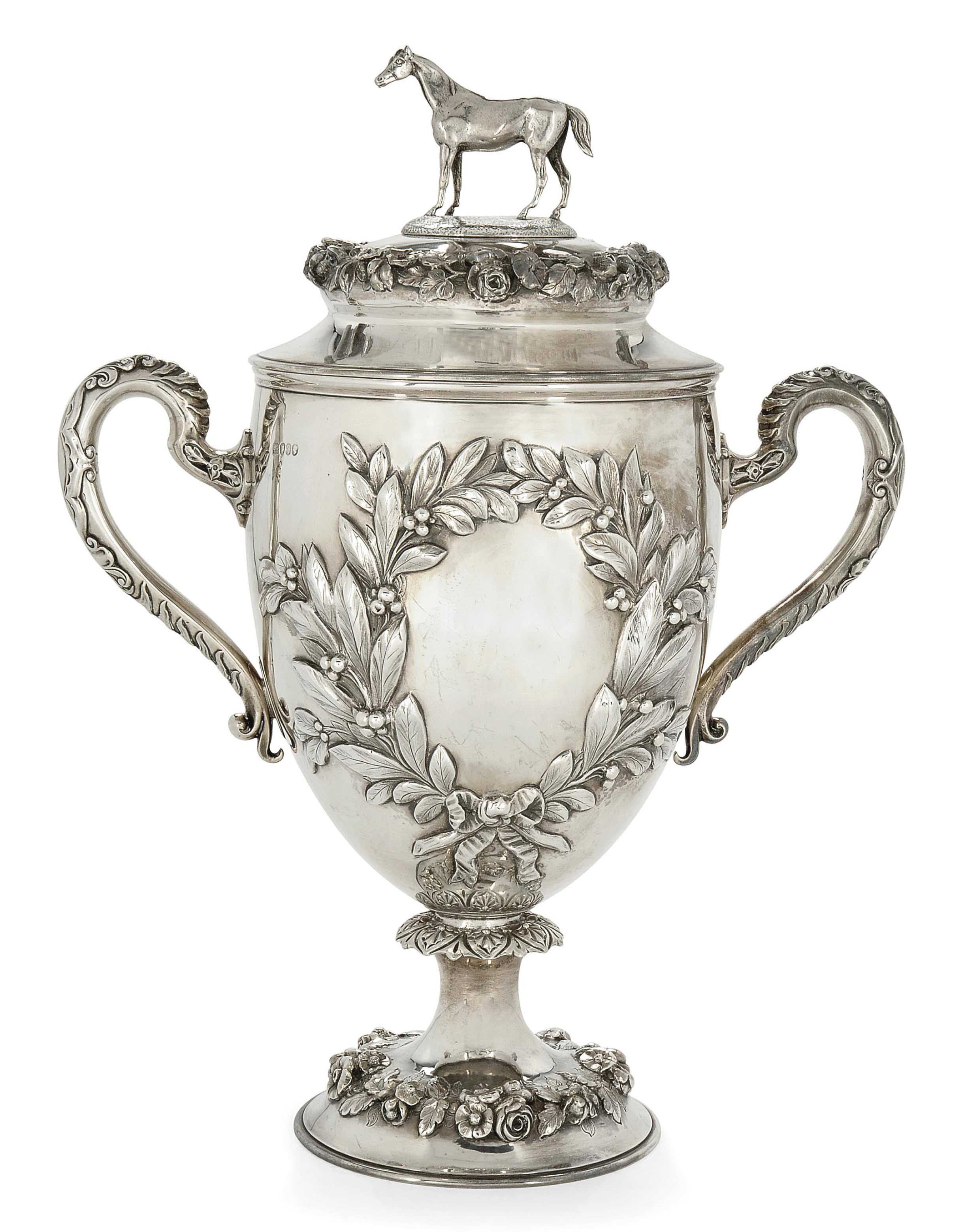 A Victorian Silver Horse Racing Trophy Cup And Cover Mark Of Robert Hennell London 1864