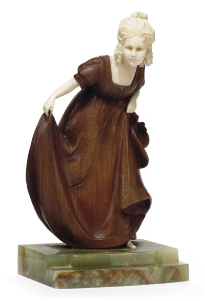 'CURTSY' A CARVED AND STAINED