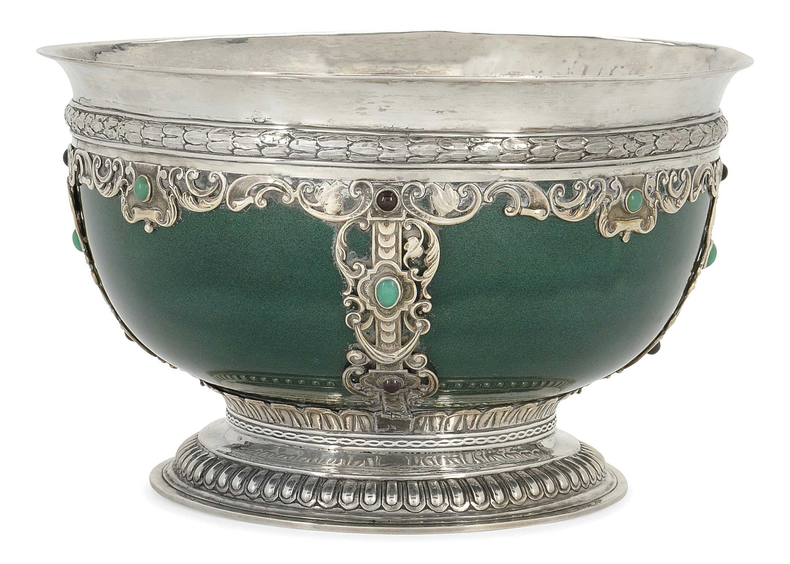 AN EDWARDIAN SILVER-MOUNTED ROYAL DOULTON ROSE BOWL