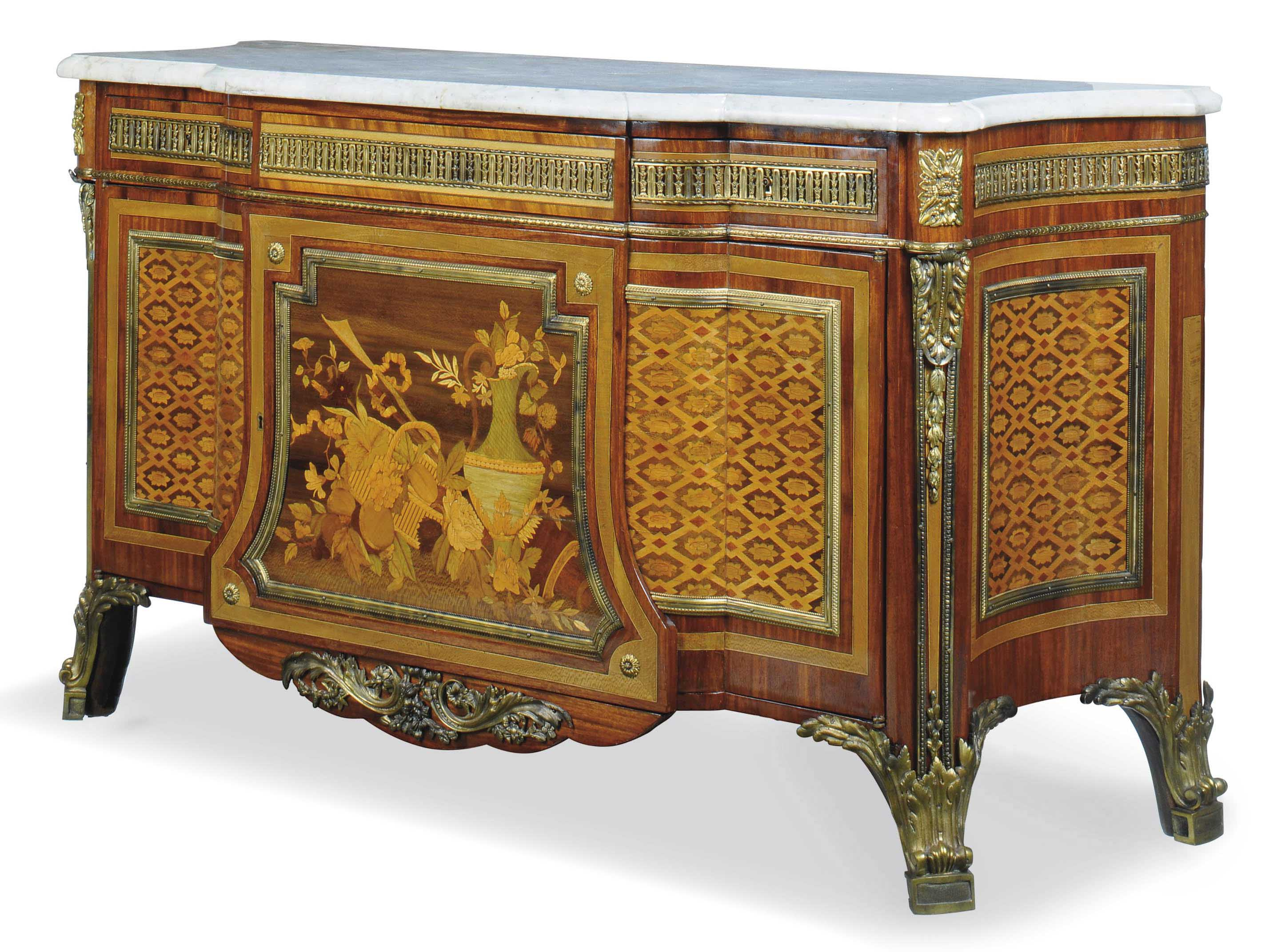 A FRENCH ORMOLU MOUNTED MAHOGANY AND MARQUETRY COMMODE