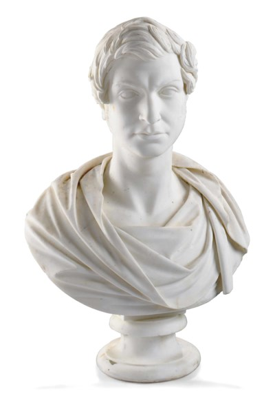 A CARVED MARBLE BUST OF A GENT