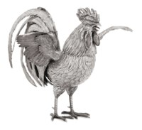 A LARGE GERMAN SILVER COCKEREL TABLE ORNAMENT