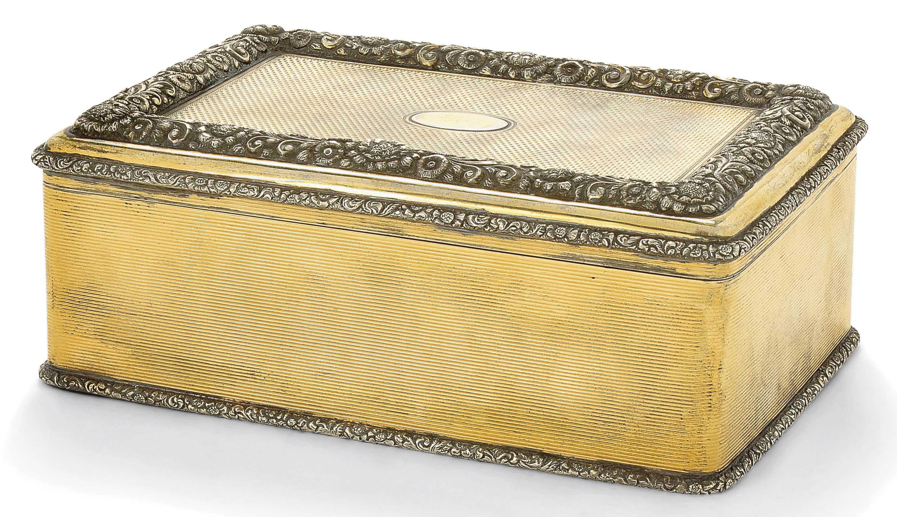 A PARCEL-GILT SILVER CIGAR BOX IN THE FORM OF A REGENCY SNUFF BOX