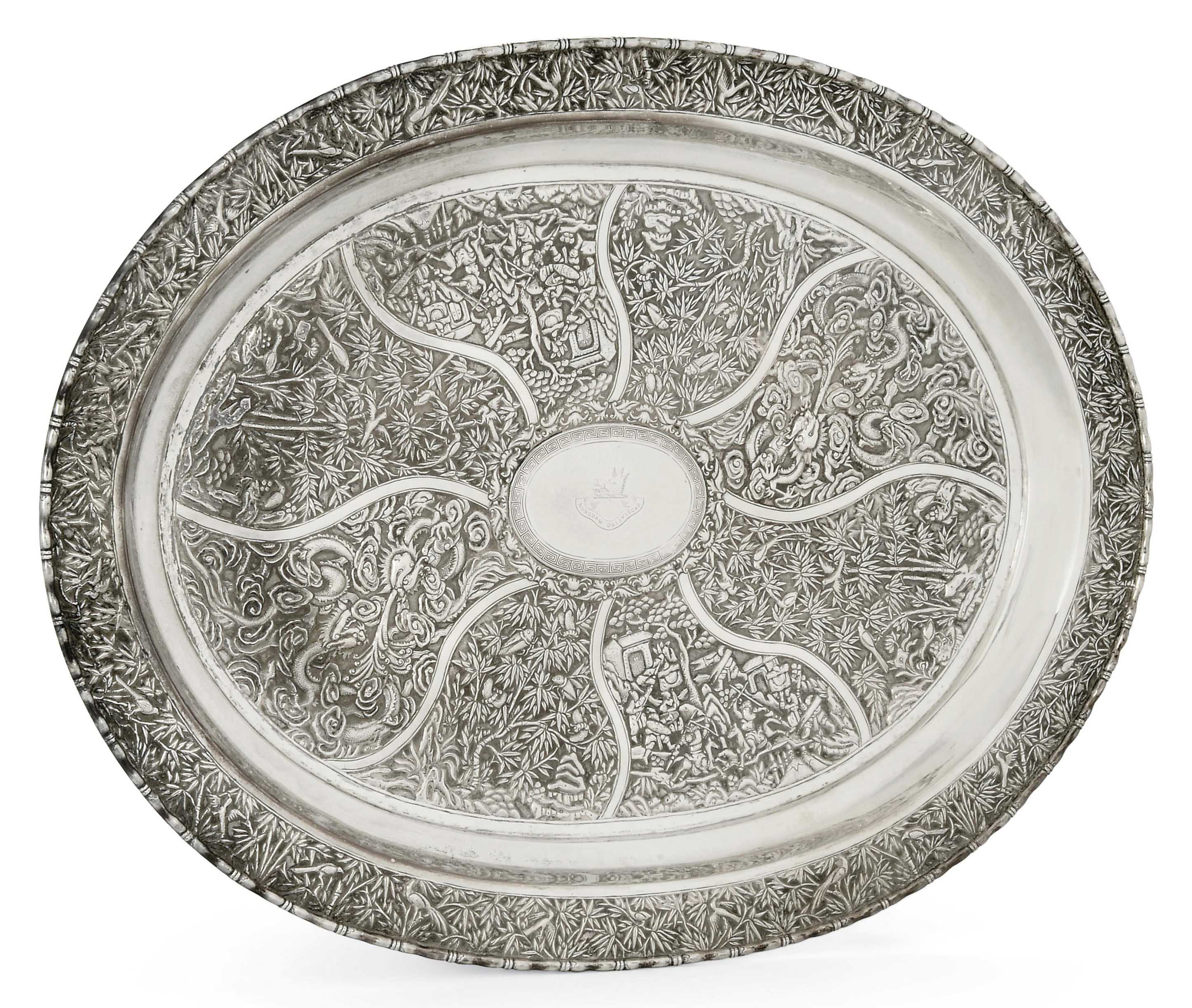 A LARGE CHINESE EXPORT SILVER TRAY