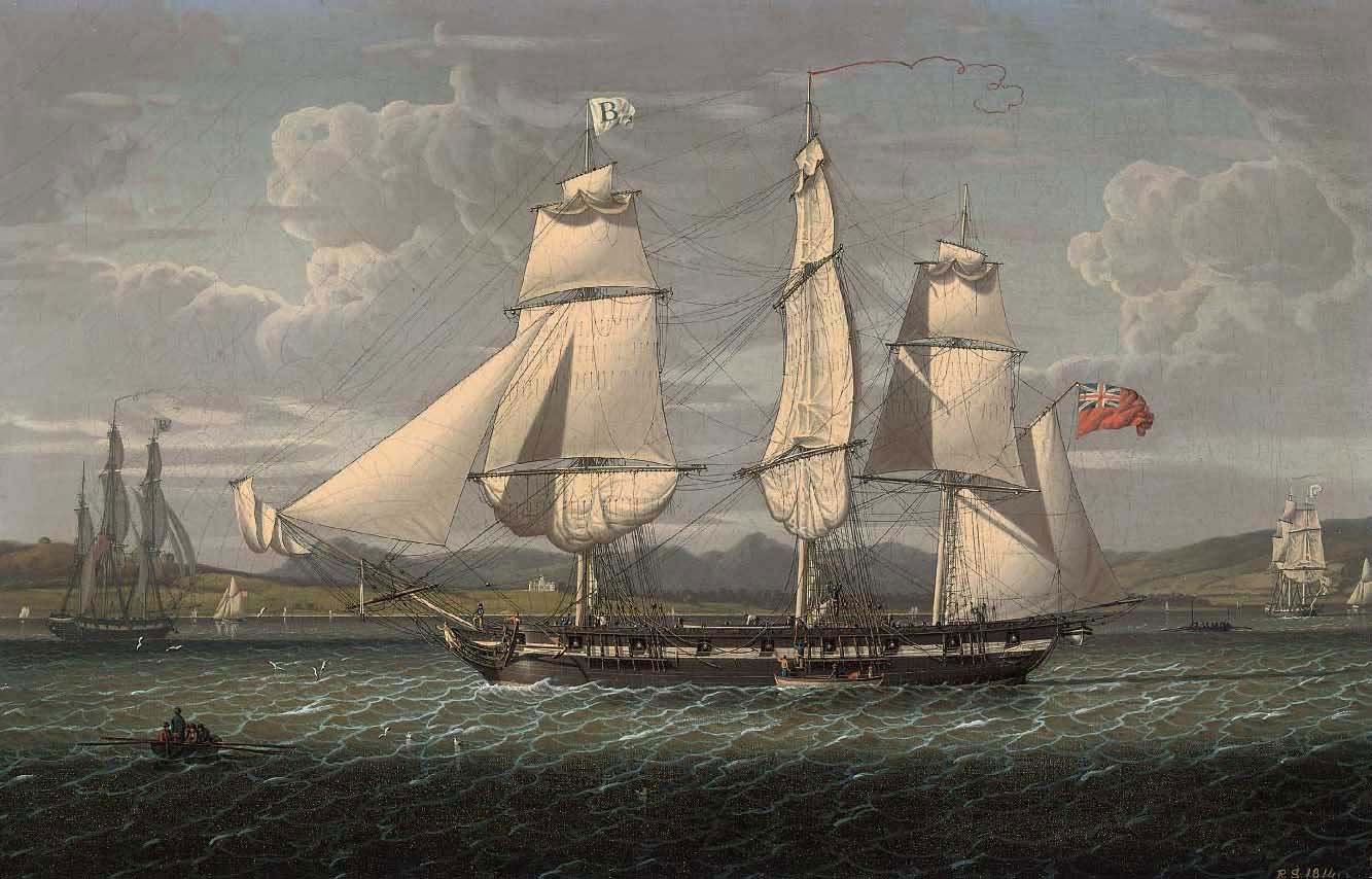 An outward-bound 18-gun merchantman at the 'Tail of the Bank' portrayed in three positions