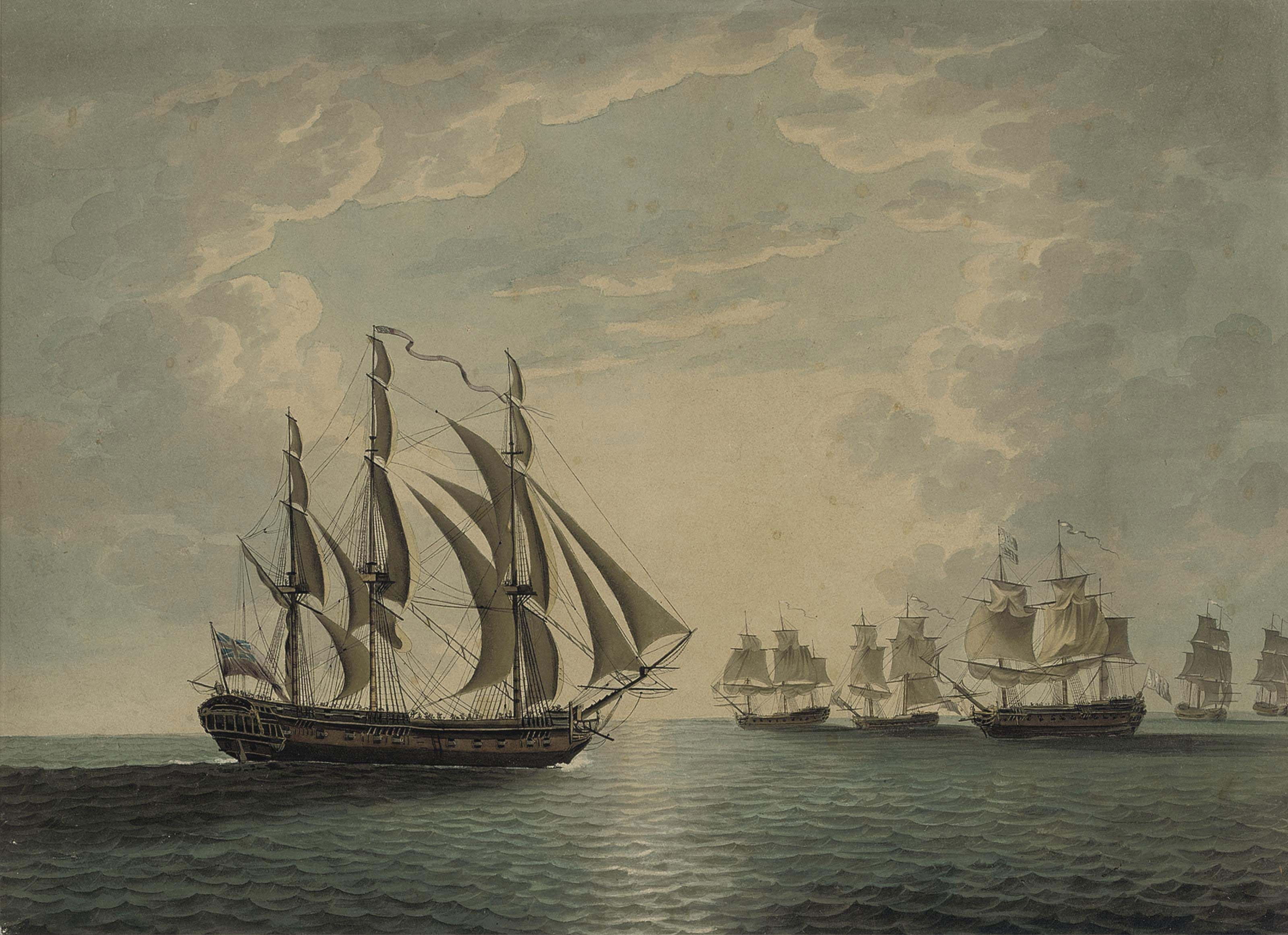 H.M.S. Mediator about to attack an enemy convoy off Cape Ortegal, 12th December 1782