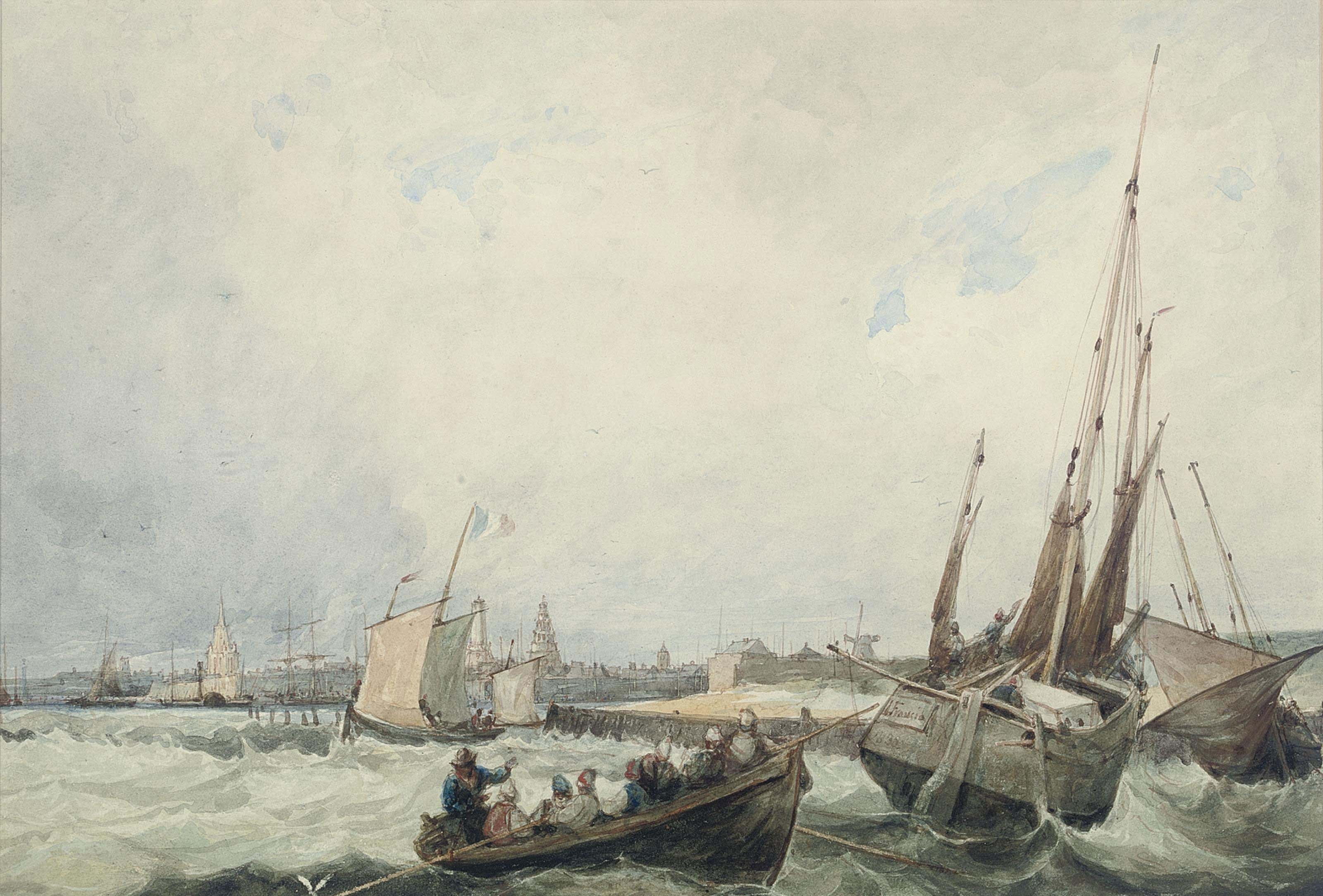 A blustery day off the harbour at Calais