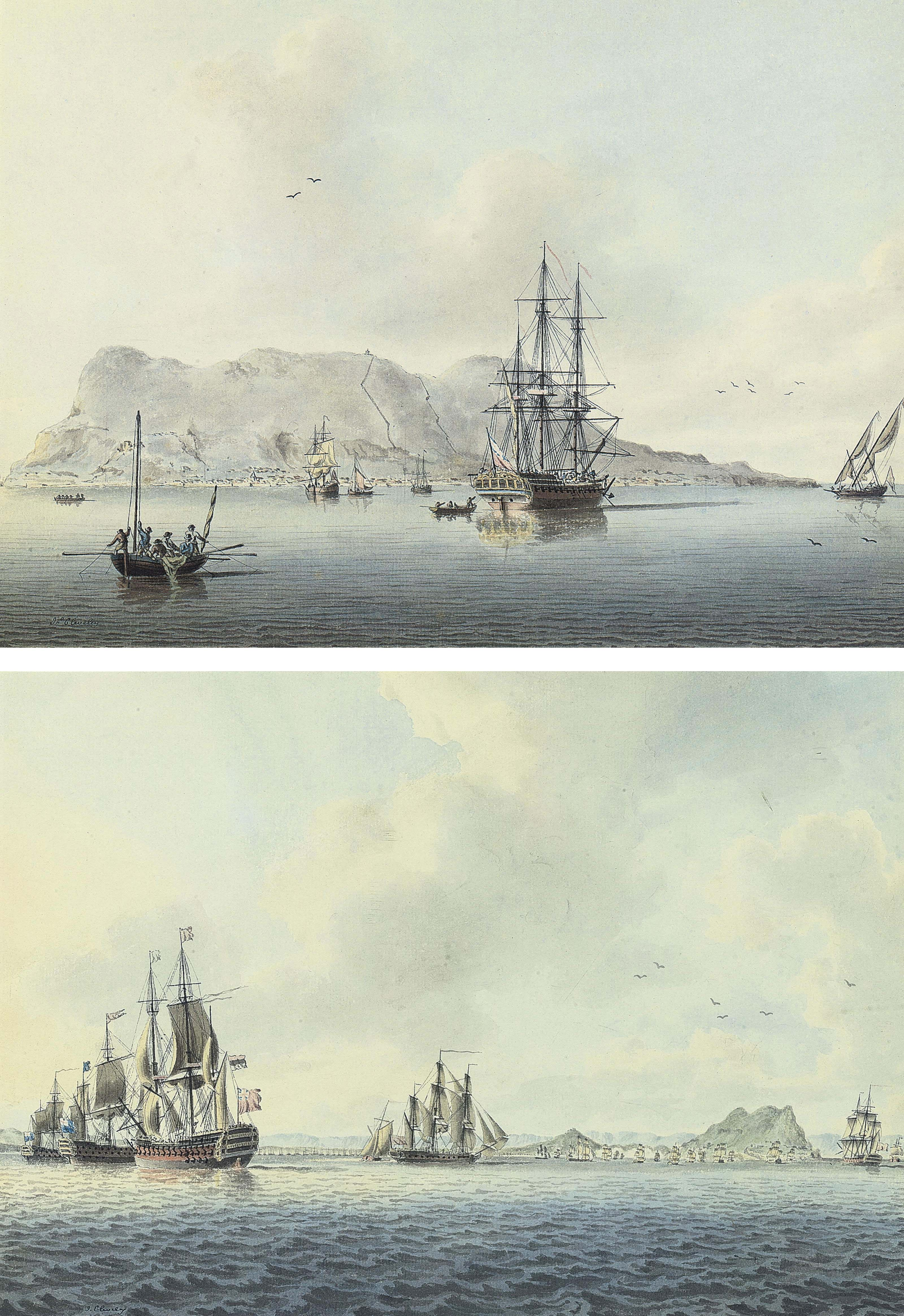 A Royal Navy frigate anchored off Gibraltar; and The British fleet lying in Gibraltar Bay (both illustrated)