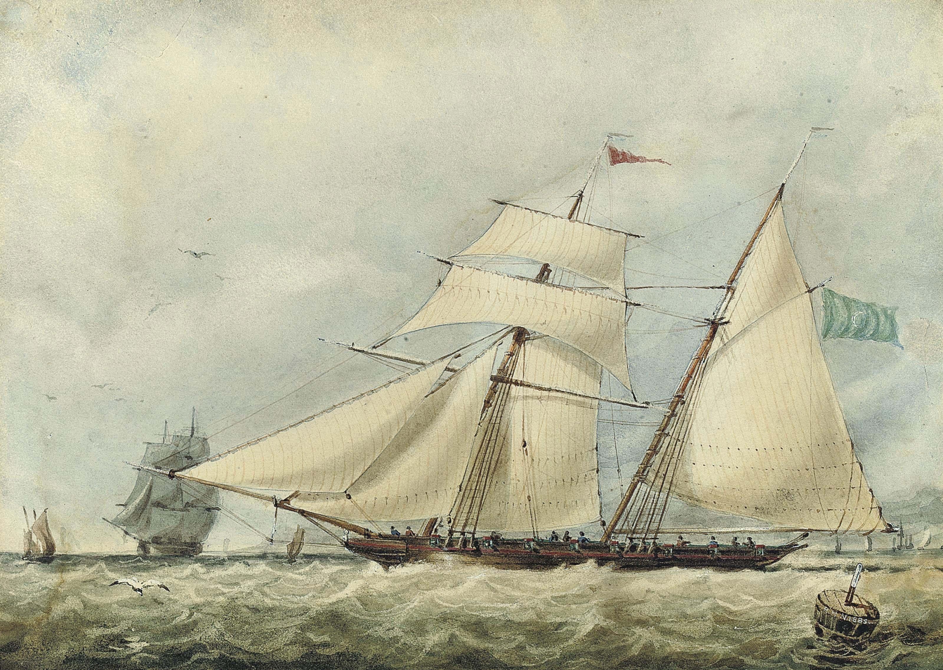 A topsail schooner in coastal waters