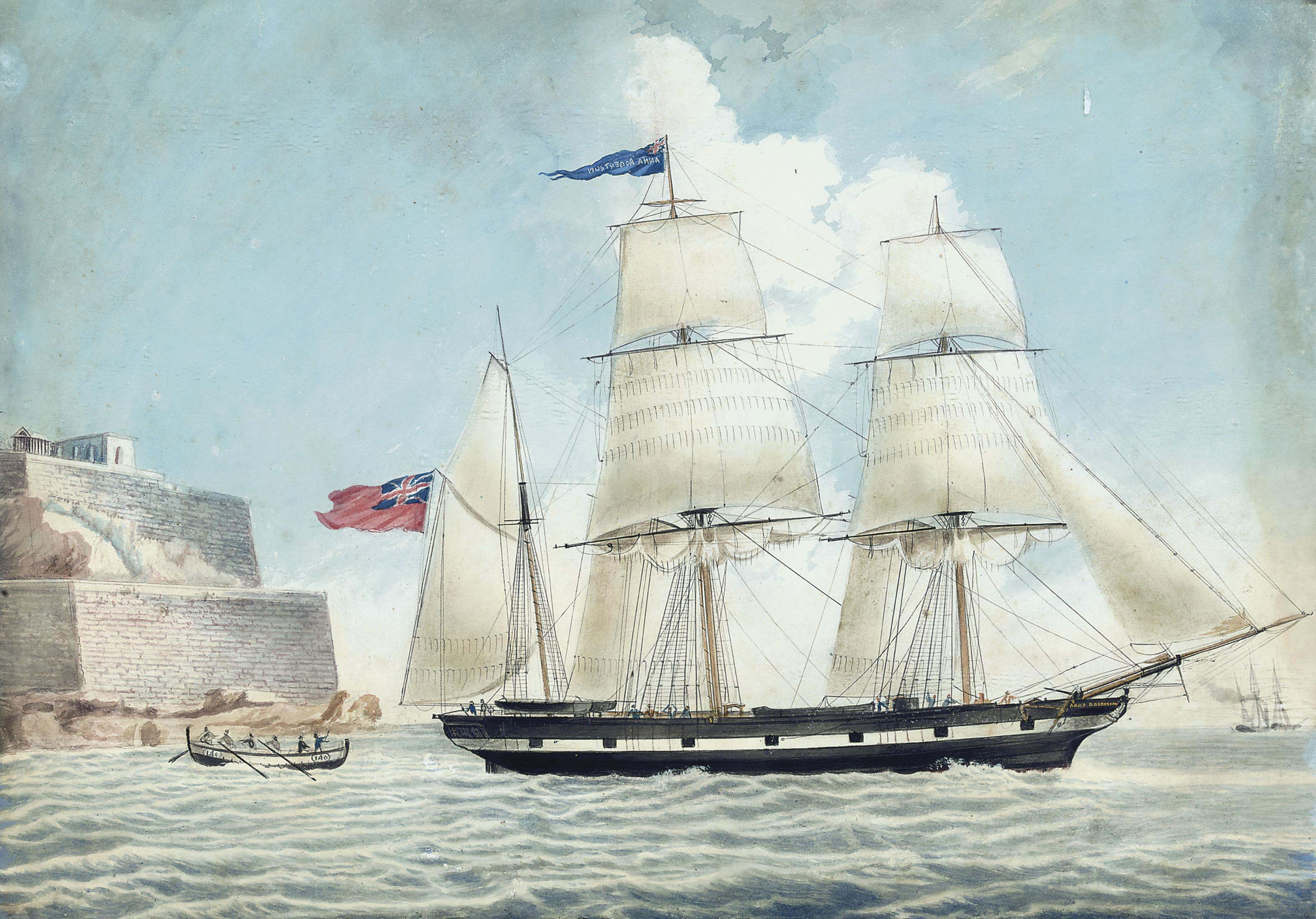 The British barque Anna Robertson of Scarborough leaving Malta