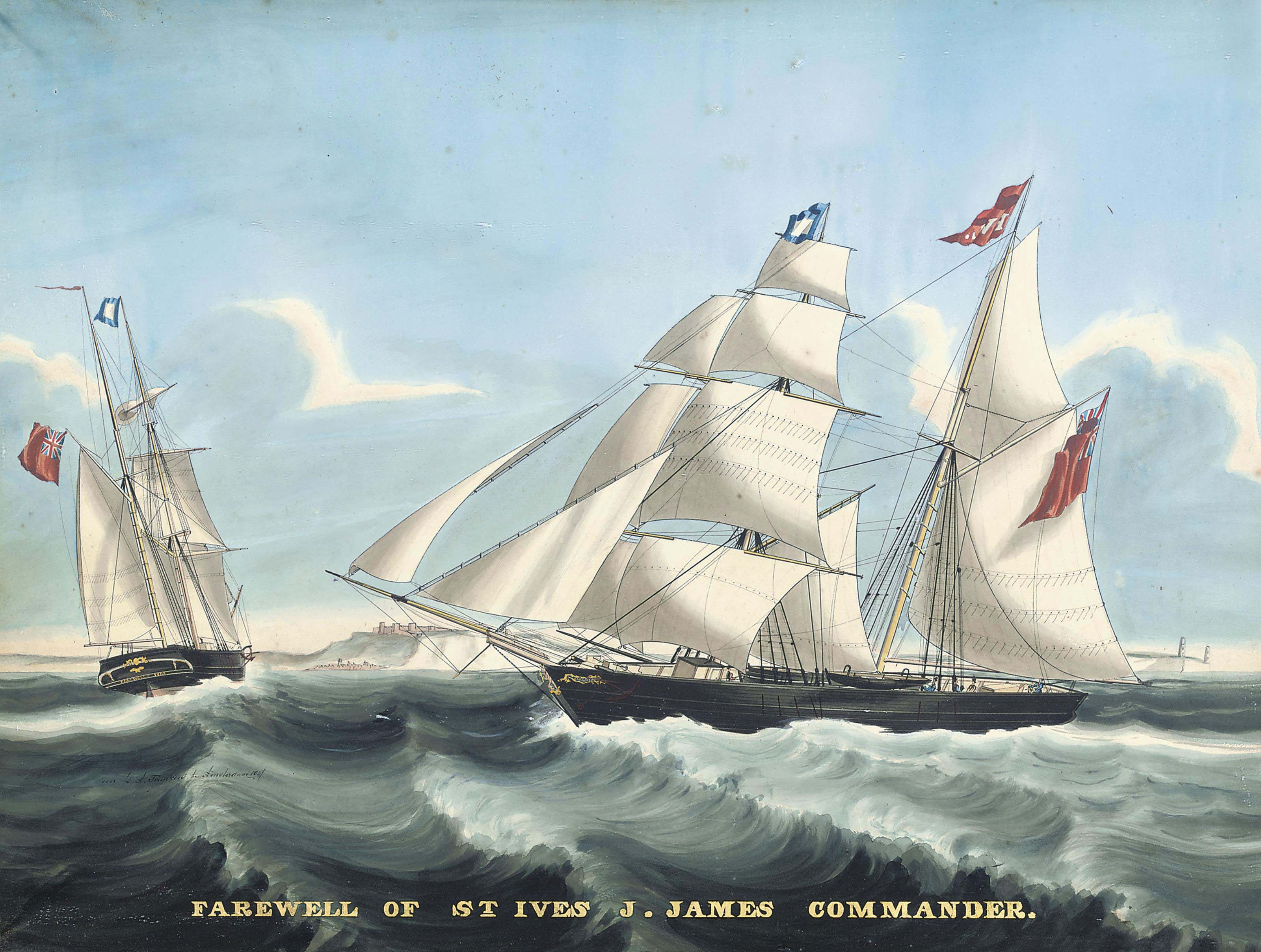 The trading brigantine Farewell of St. Ives in two positions in the Channel off Dover