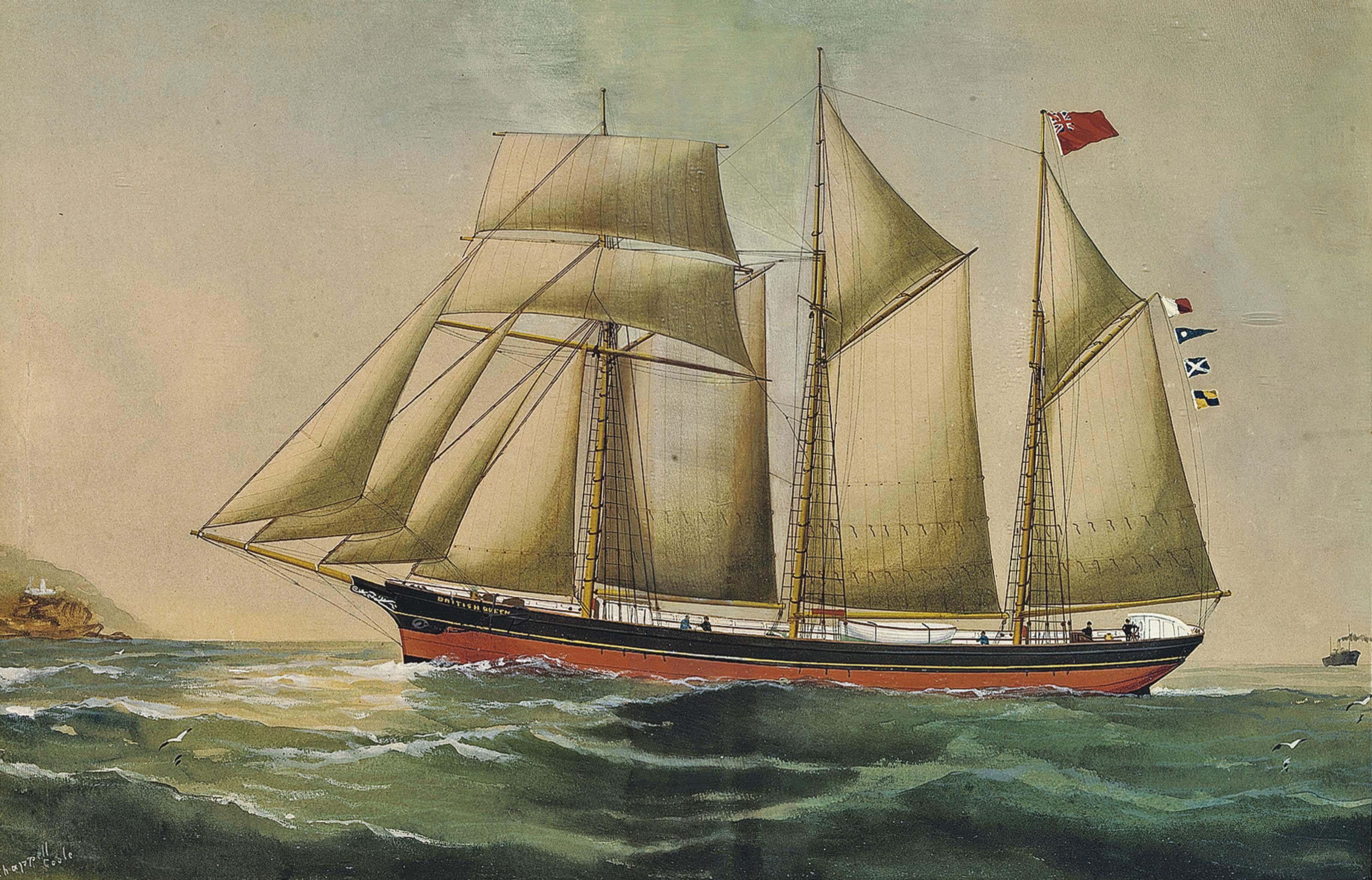 The British Queen of Barrow in coastal waters (illustrated); and The British Queen of Barrow reefed-down in heavy seas