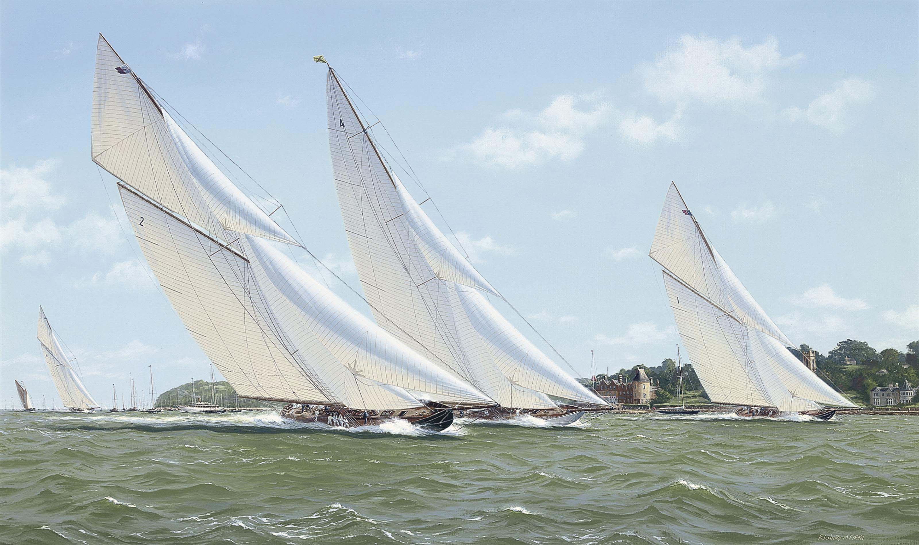 Terpischore, Nyria, Britannia and Moonbeam powering over the Royal Yacht Squadron's starting line, 1923