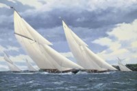 Britannia and Candida racing in the Solent off Norris Castle, Isle of Wight, Cowes Week, 1930