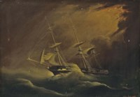 A merchantman running before the gale