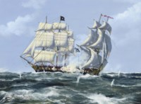 'The Black Flag': An engagement between a pirate ship and a Royal Navy frigate (illustrated); and Bounding water: The clipper ship Timaru