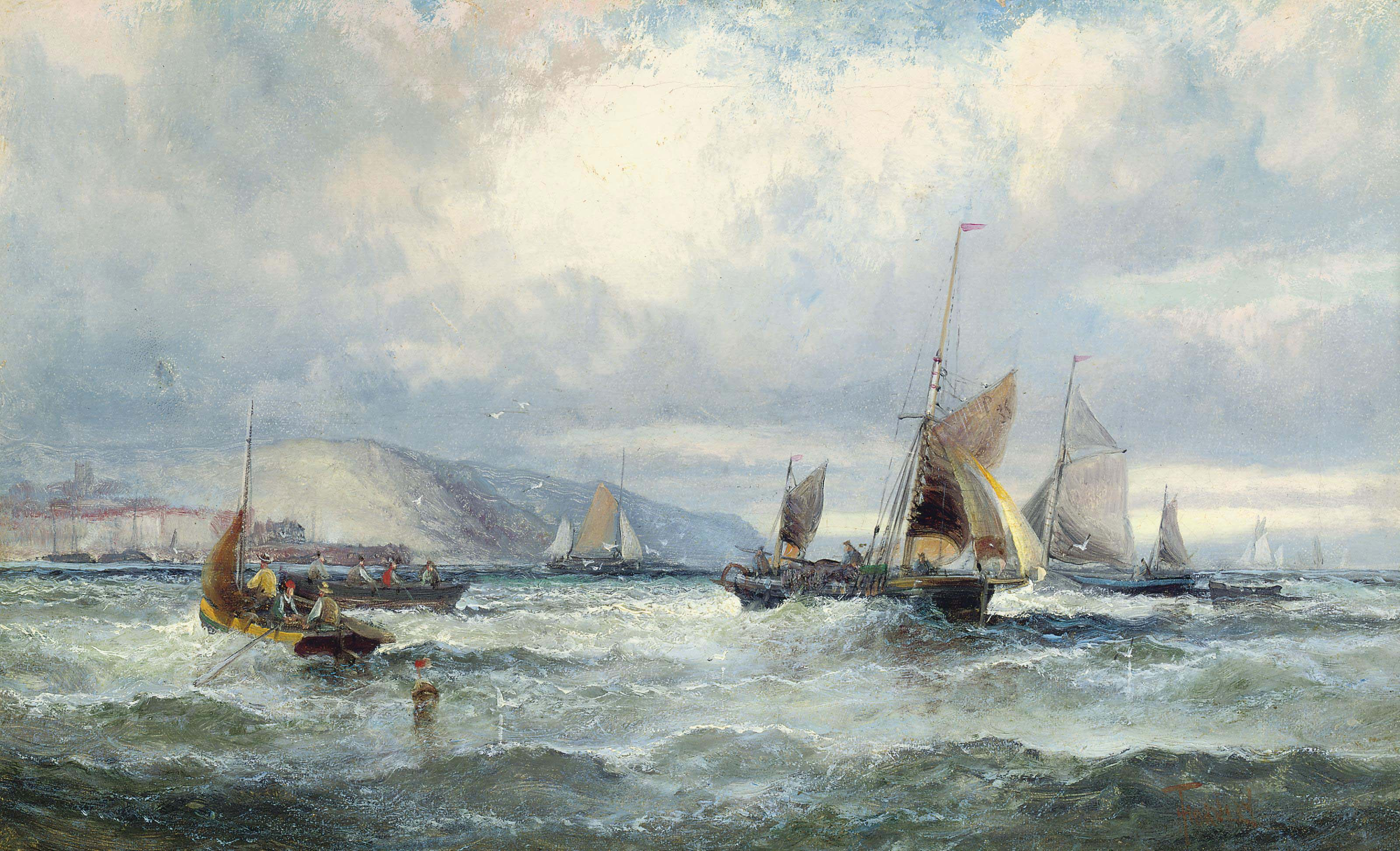 Fishing vessels off Scarborough (illustrated); and Fishermen on the foreshore of the Medway at dusk