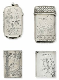 FOUR VICTORIAN SILVER AESTHETIC MOVEMENT VESTA CASES