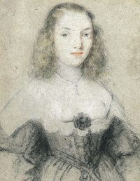 Portrait of a young woman, half-length, in a black dress