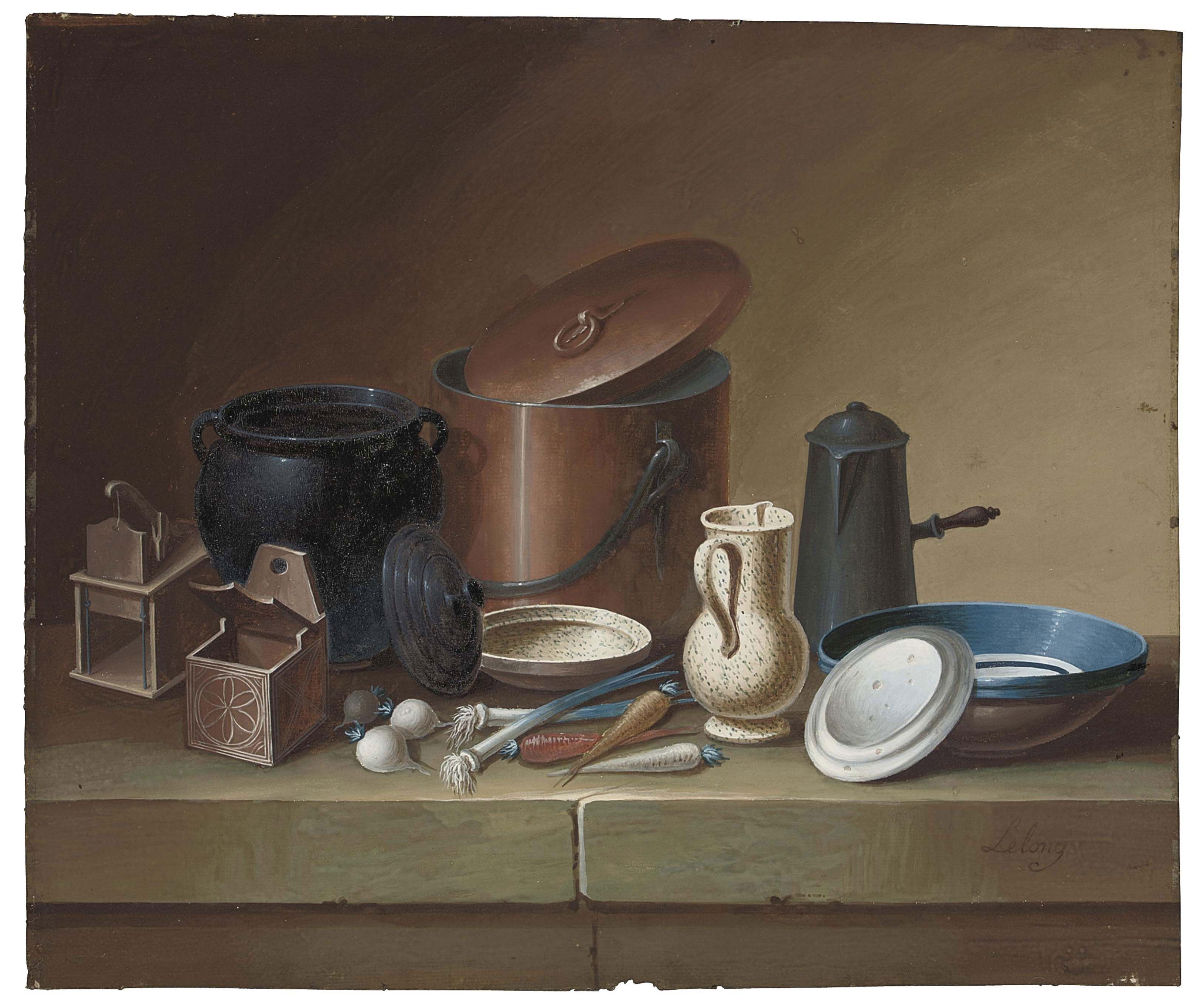 Still life with crockery, eggs and a bunch of asparagus; and Still life with crockery, vegetables and a mousetrap (illustrated)
